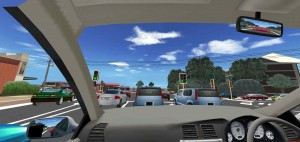 Through the windscreen at a Nedlands, WA, intersection, modelling by transport simulation specialists Forum8.