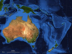 Bathymetric view of Oceania via satellite. [worldmapsonline.com]