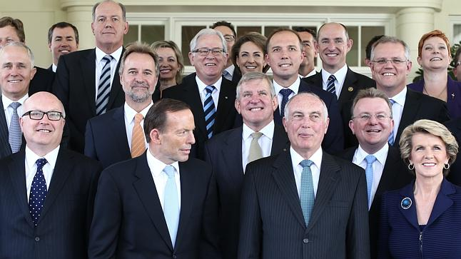 Australia's Cabinet with Prime Minister Tony Abbott, centre front, and Communications Minister Malcolm Turnbull second row far left.