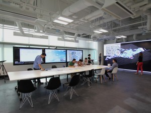 Multiple touch screens at the Value Lab Asia, part of ETH-Zurich's Future Cities Lab at the National University of Singapore.