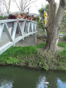 Citizen scientists from Beckenham School use a water chemical testing kit on the Avon River.