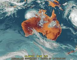 Satellite image with cloud cover. Aust Bureau of Meteorology.