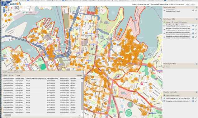 AURIN visualisation of housing data for greater Melbourne.