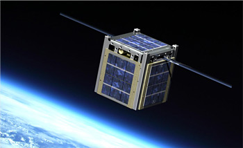 Artist's rendition of a solar-powered CubeSat developed by NASA with Montana University.